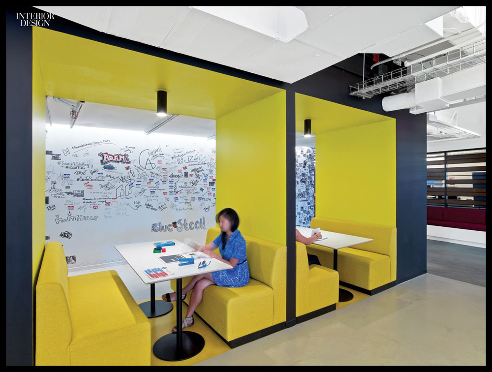 Brainstorm room – Creativity centre – Office interior design – Booth seating – Yellow – Writable walls – Dry-erase