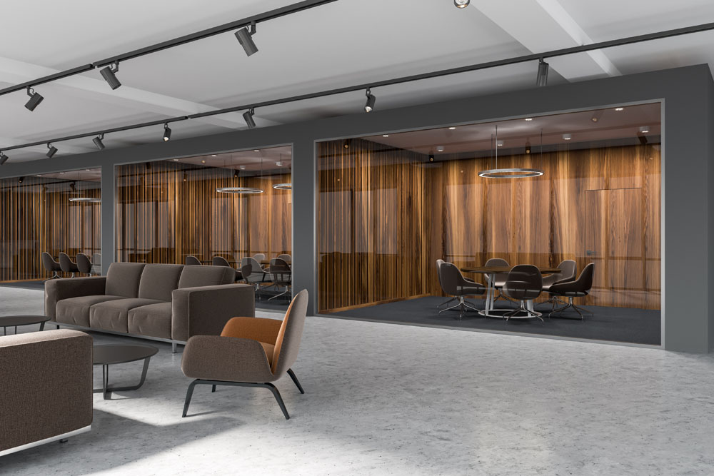 High end construction luxury office design – Veneer wood panelling – Conference room glass – Mid-century modern