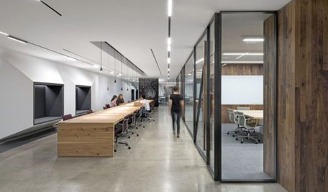 Open office – Long benching work table – Colaboration work station – Glass partition polished concrete – High-end veneer wood