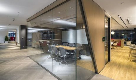 Private office glass front – Sliding door – Feature ceiling – Corridor design
