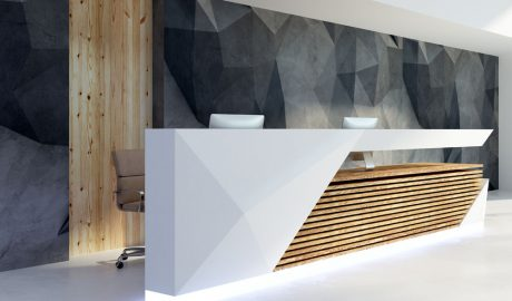 Reception area interior designer – Custom reception desk – Wood aminate feature wall – Modern